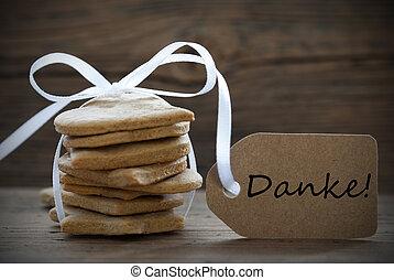 gember, brood, met, danke, etiket