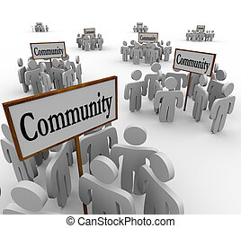 gemeenschap, mensen, verzamelde, ongeveer, tekens & borden, om te, illustreren, groepen, van, vrienden, buren, collega's, collegas, of, anderen, individuen, aan het werk aaneen, te helpen, elkaar, en, oplossen, problemen