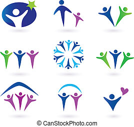gemeenschap, netwerk, en, sociaal, iconen