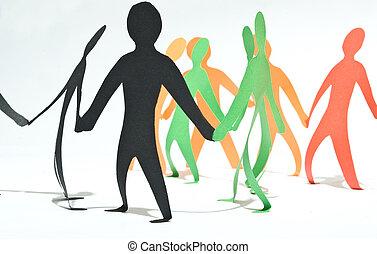 gemeenschap, van, mensen, holding, handen