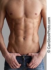 gemeißelt, brust, und, abs., kupiert, bild, von, muskulös,...