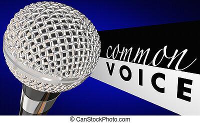 gemeinsam, stimme, mikrophon, diskussion, zusammen, 3d, abbildung