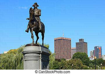 gemeinsam, washington george, statue, boston, park