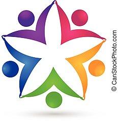 gemeinschaftsarbeit, blume, einheit, leute, logo