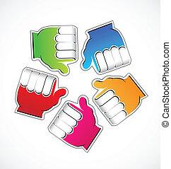 gemeinschaftsarbeit, daumen, hände, logo