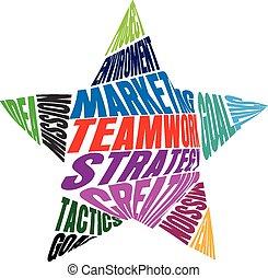 gemeinschaftsarbeit, form, stern, wörter, logo