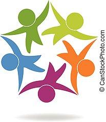 gemeinschaftsarbeit, geschaeftswelt, glücklich, leute, logo