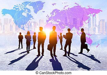 gemeinschaftsarbeit, globales geschäft, und, reise, begriff