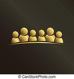 gemeinschaftsarbeit, goldenes, leute, 6., gruppe, von, leute.