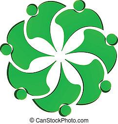 gemeinschaftsarbeit, grün, leute, blume, logo