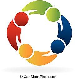 gemeinschaftsarbeit, hände, form, leute, logo