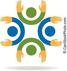 gemeinschaftsarbeit, hände, leute, logo