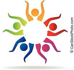 gemeinschaftsarbeit, hände, logo