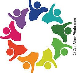 gemeinschaftsarbeit, hallo, 5, -, logo, bild