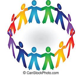 gemeinschaftsarbeit, halten hände, logo, vektor