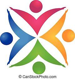 gemeinschaftsarbeit, leute, hände halten, logo