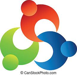 gemeinschaftsarbeit, leute, hände zusammen, logo