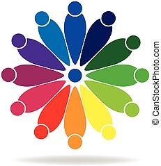 gemeinschaftsarbeit, leute, logo