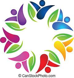 gemeinschaftsarbeit, leute, mit, blättert, logo