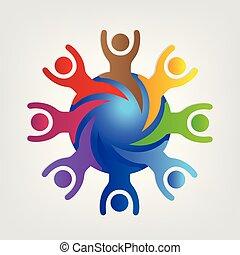 gemeinschaftsarbeit, logo, leute, verbunden, welt