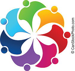 gemeinschaftsarbeit, regenbogen, leute, blume, logo