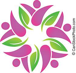 gemeinschaftsarbeit, rosa, leute, blättert, logo