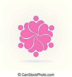 gemeinschaftsarbeit, rosafarbene blume, logo