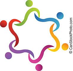 gemeinschaftsarbeit, swoosh, portion, logo, vektor