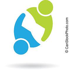 gemeinschaftsarbeit, versammlung, 2 personen, logo