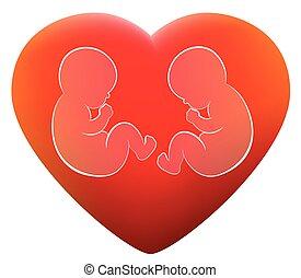 gemelli, amore, bambini, cuore rosso