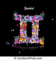 gemelli, modello, segno, zodiaco, carino, -, farfalle