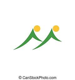 gemello, simbolo, logotipo, vettore, sole, montagna