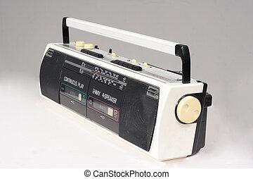 gemelo, cassette, retro, registrador
