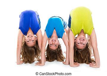 gemelo, hermanas,  flexible, contorsionista, juego, niño