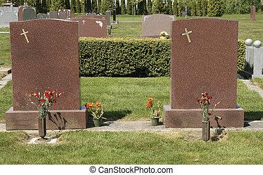 gemelo, lápidas, blanco