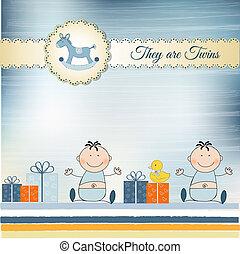 gemelos, anuncio, tarjeta