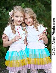 gemelos, beautifullittle, niñas, dos, retrato