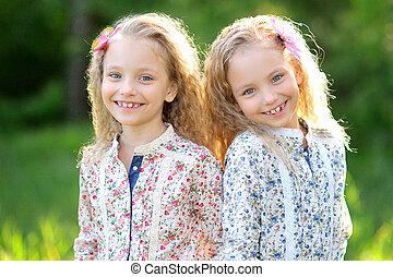 gemelos, niñas, dos, retrato