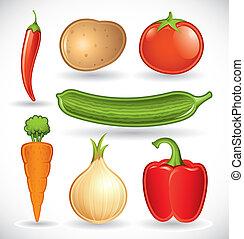gemengd, 1, groentes, set