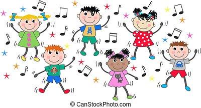 gemengd, dancing, kinderen, ethnische , disco