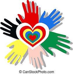 gemengd etnisch, handen