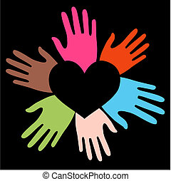 gemengd etnisch, liefde, handen