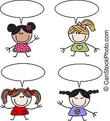 gemengd etnisch, meiden, kinderen, vrolijke
