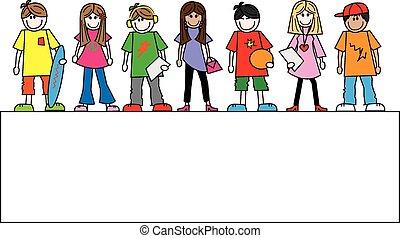 gemengd, header, tieners, spandoek, ethnische