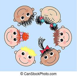 gemengd, kinderen, ethnische