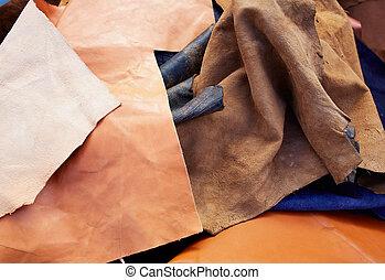 gemengd, materialen, suede, verward, leder, buckskin