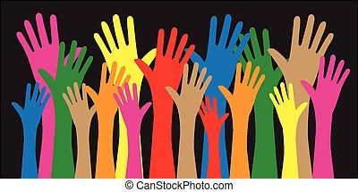 gemengd, reiken, ethnische , handen