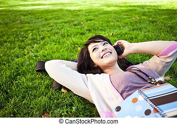 gemengd, telefoon, hardloop, student