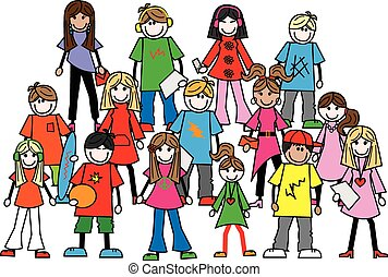 gemengd, tieners, ethnische , jongeren