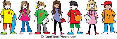 gemengd, tieners, tieners, ethnische